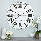 French Country Wall Clock with Shiplap Face White Farmhouse Transitional Round Wood Espresso Finish Roman Numeral Display
