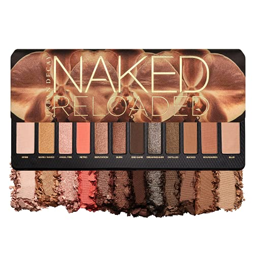 Urban Decay Naked Reloaded Eyeshadow Palette, 12 Universally Flattering Neutral Shades - Ultra-Blendable, Rich Colors with Velvety Texture - Set Includes Mirror