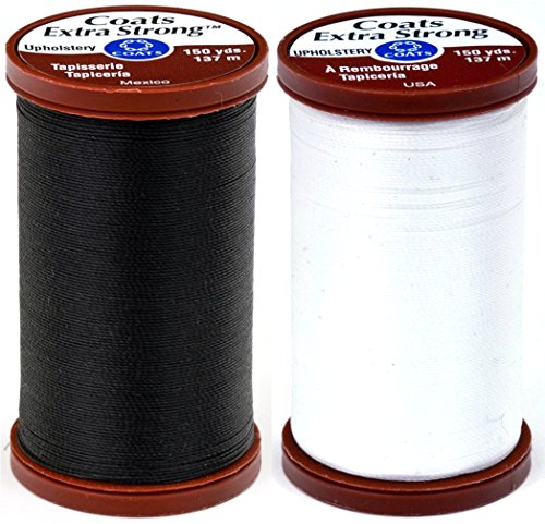 Black & White Bundle of Coats & Clark Extra Strong Upholstery Thread - 150 Yards Each
