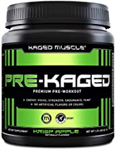 Pre Workout Powder; KAGED MUSCLE Preworkout for Men & Pre Workout Women, Delivers Intense Workout Energy, Focus & Pumps; One of the Highest Rated Pre-Workout Supplements, Krisp Apple, Natural Flavors