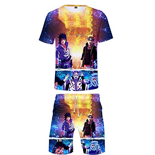 ZOSUO NARUTO Round Neck Shorts Suit Short Men Women Cosplay Uchiha Sasuke T-Shirt Summer Breathable Short Sleeve Casual Pants 2 Piece Set,Blue,XL