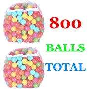 BalanceFrom 2.3-Inch Phthalate Free BPA Free Non-Toxic Crush Proof Play Balls Pit Balls- 6 Bright Colors in Reusable and Durable Storage Mesh Bag with Zipper, D. 800-Count