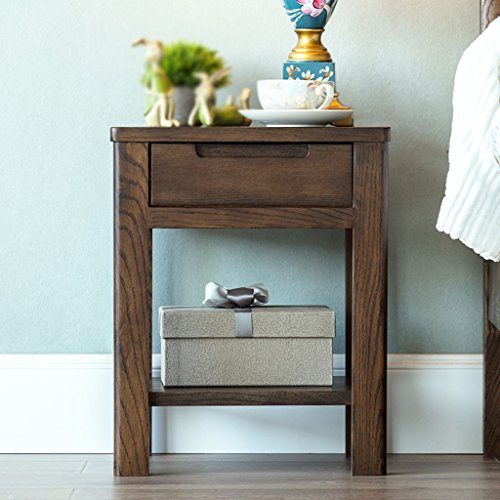 Bedside Tables LI Jing Shop - Massivholzmöbel Nachttische Modern Einfachheit Schlafzimmer Mini-Stauschrank (Farbe : Nussbaum)