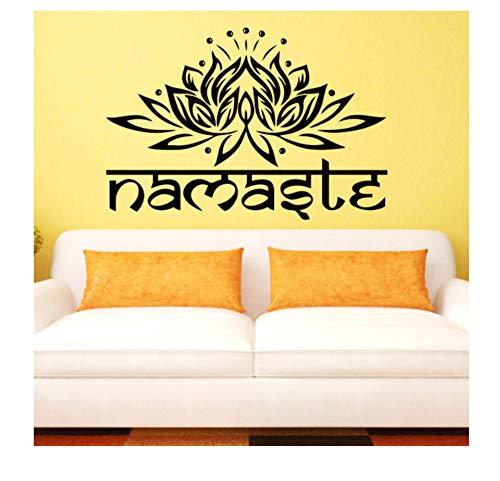 Religieuze kunst design Indiase naam woord muursticker lotus yoga sticker Foganissa Home Decoration 58X85 cm