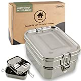 homeAct Premium Edelstahl Brotdose Eco Lunchbox | 3 Fächer| umweltfreundlich, auslaufsicher & gesund | TÜV geprüft | Essensbox für Schule, Uni, Arbeit und Camping
