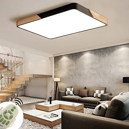 72W lamparas techo modernas plafón LED de madera atmósfera rectangular adecuado para dormitorio estudio hotel balcón restaurante (regulable 3000-6500K)