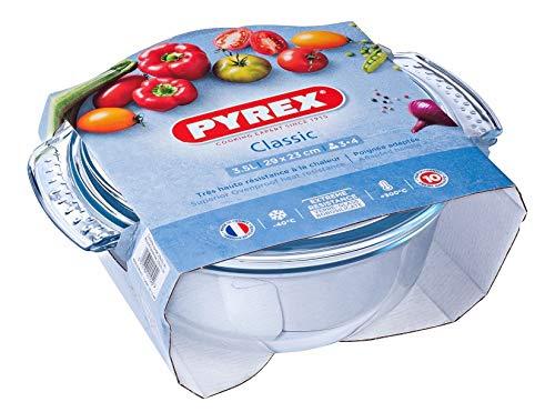 Pyrex - Fuente resistente al calor e ignífuga,envase para asar con tapa de cristal, vidrio, 3,5 l
