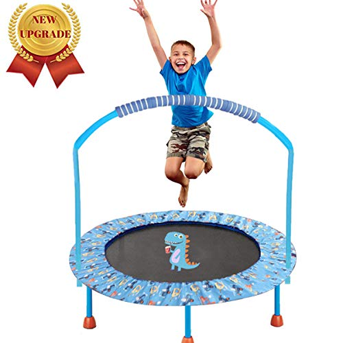 """LBLA 38"""" Mini Trampoline for Kids 3-10 Adjustable Blue Handrail and Safety Padded Cover Foldable Bungee Rebounder Portable Kids Trampolines Exercise Indoor/Outdoor"""