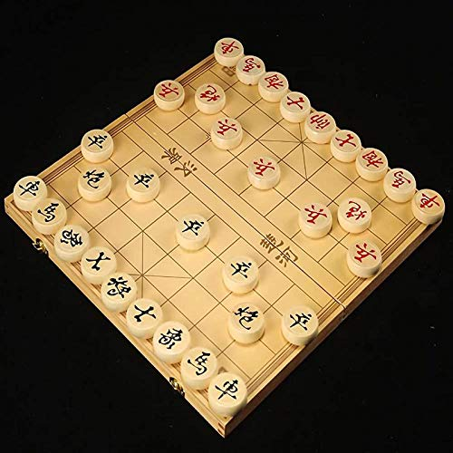 XHH Wooden Chinese Chess Set In a Foldable Box Travel Game Sets Xiangqi Board Games Puzzle Entertainment Party Game