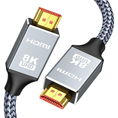 8K 60HZ HDMI Cable 6.6FT/2M,Capshi Ultra HD 48Gbps High Speed HDMI Braided Cord-4K@120Hz 8K@60Hz, DTS:X, HDCP 2.2 & 2.3, HDR 10 Compatible with TV, PS4 PS5,Monitor,PC and More