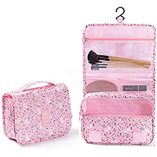 Hanging Travel Toiletry Bag Nylon Portable Makeup Comestic Organiser Folding Travel Wash Bag With Detachable Clear Compartment Idea For Men Women Travelers Long-distance Drivers (Pink Rabbit)