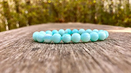 LOVEKUSH Jewelry Energy 7mm Stretchable Blue Peruvian Blue Opal Bracelet Round, Smooth 7' for Mens, Womens, gf, bf & Adult.
