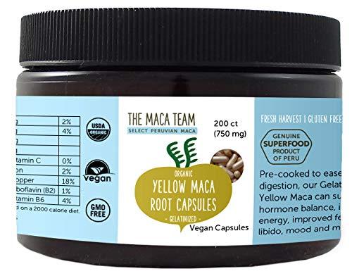 Gelbe Maca Wurzel Kapseln, gelatiniert, bio- zertifiziert, frische Ernte aus Peru, Fair Trade, gentechnikfrei, vegan – 750 mg, 200 Ct