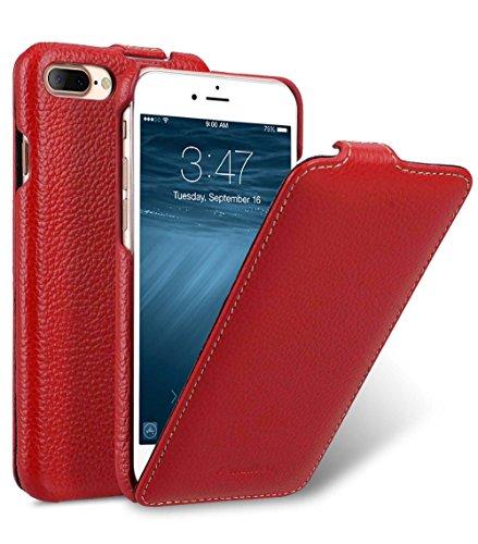 MELCKO Tasche passend für Apple iPhone 8 Plus & 7 Plus (5.5 Zoll), Hülle Außenseite aus beschichtetem Leder, Schutz-Hülle klappbar, Flip-Hülle, Etui, Ultra-Slim Cover, Rot