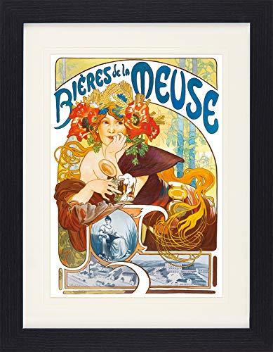 1art1 Alphonse Mucha - Biere Von Der Maas, 1897 Gerahmtes Bild Mit Edlem Passepartout | Wand-Bilder | Kunstdruck Poster Im Bilderrahmen 40 x 30 cm