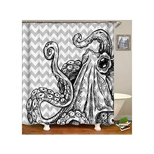 Knbob Polyester Duschvorhang Octopus Badewanne Vorhang 180x180CM mit 12 Duschvorhangringen