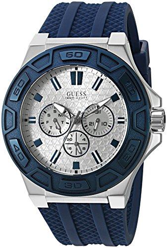 GUESS U0674G4 - Orologio multifunzione da uomo, con iconico cinturino in silicone blu