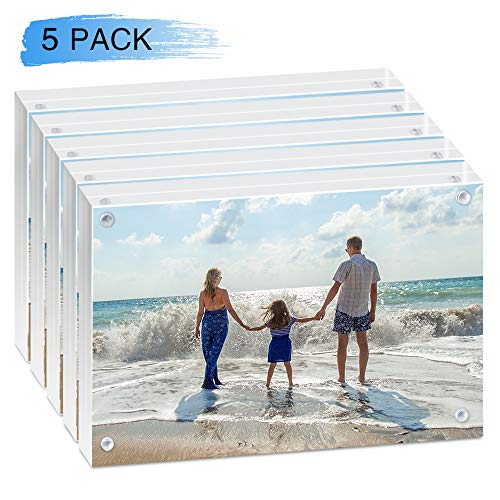 HAISEN Acrylic Picture Frames 5x7 inches - Super Clear and Solid -Desktop Display Magnet Frames Clear Acrylic Picture Frame (5 Pack)