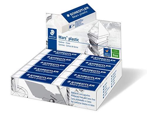 STAEDTLER 526 50 Radierer Mars plastic phtalat und latexfrei, Schachtel mit 20 Stück, weiß