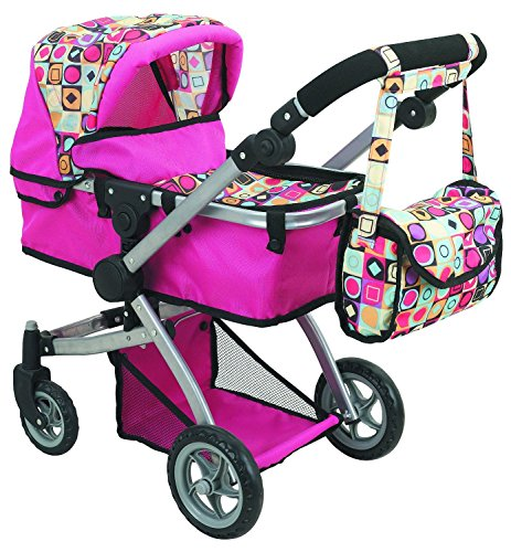 Doll Strollers Pro Deluxe Doll Stroller with Swiveling Wheels, Adjustable Handle and Carriage Bag