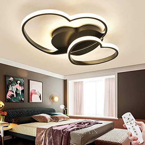 Lámpara De Techo Para Dormitorio LED Regulable Con Control Remoto Moderno En Forma De Corazón Diseño Lámpara De Sala De Estar Lámpara De Oficina Cocina Lámpara Colgante Iluminación (Black,50CM)