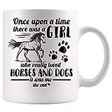 N\A Érase una Vez una Chica Que amaba el Caballo y el Perro Taza de café Tazas de té de Regalo de 11 oz