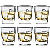 Tebery 6 Pack Square Old Fashioned Glass 7 oz Whiskey Glass Scotch Cups Wine Cup Home Bar Drinkware