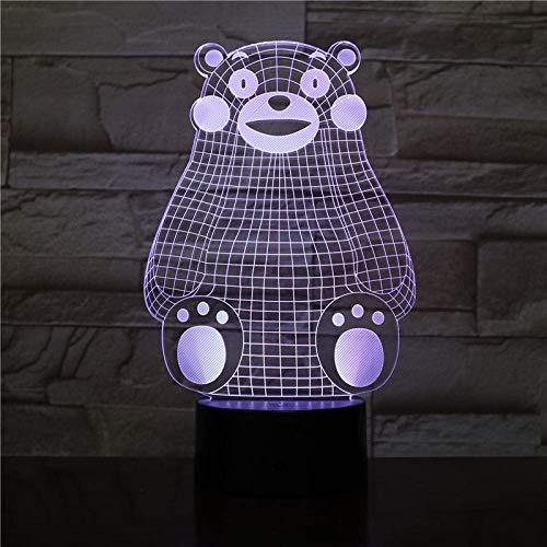 3D ilusión luz LED noche Japón Kumamon USB Multicolor niño niños bebé regalo japonés anime escritorio luz neón