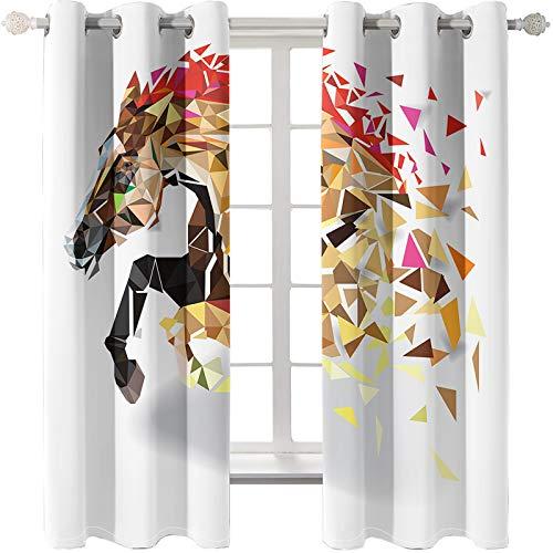MMHJS Impresión De Estilo Minimalista Moderno Cortinas De Sala De Estar Dormitorio Aislamiento Térmico Persianas De Sombra Perforación Libre Fácil De Instalar Ventanas De Balcón