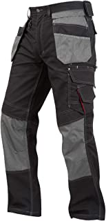 Lee Cooper LCPNT224 Mens Contrast Multi & Holster Pocket Kneepad Work Safety Cargo Pants Trousers Black/Grey, Size 38 Inch...