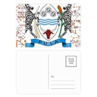 ボツワナ国家エンブレムの国 公式ポストカードセットサンクスカード郵送側20個