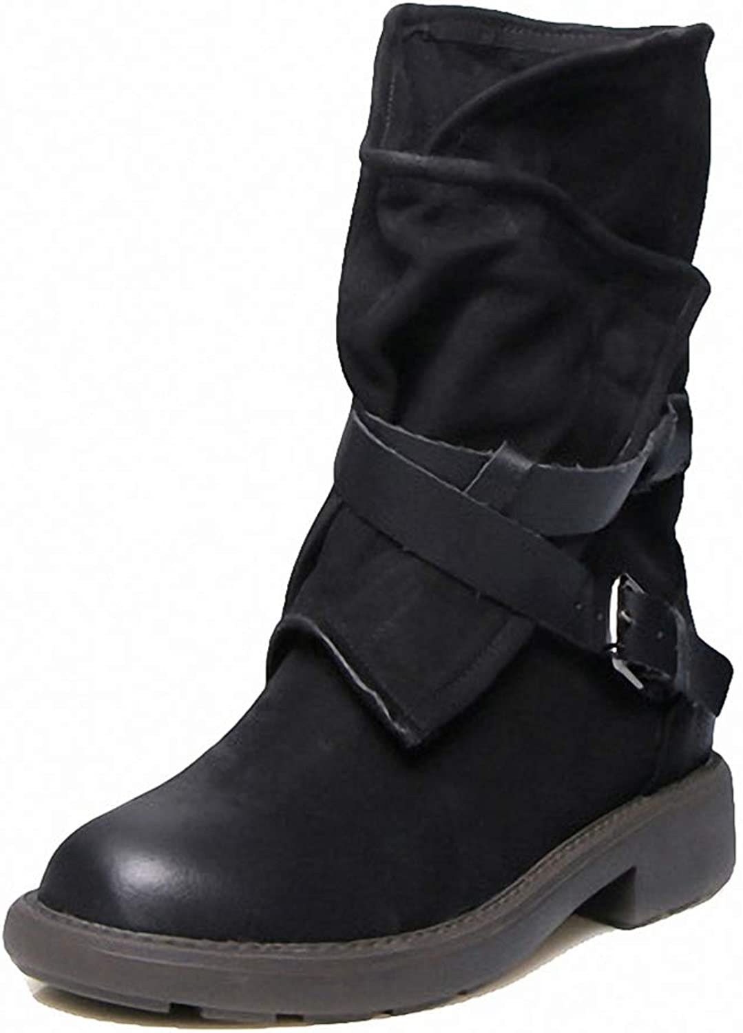 York Zhu Women Boots,Buckle Strap Slouchy Soft Low Heel Riding Boots