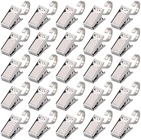 Curtain Clips with Hook 100pcs Stainless Steel Heavy Duty Satin Nickel Clamp for Shower Photos product image