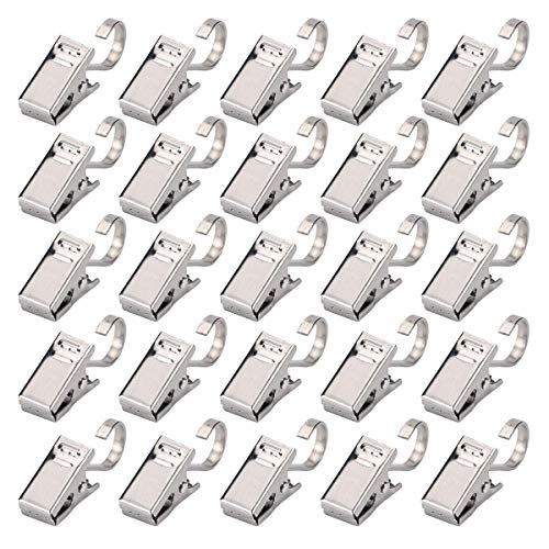 Curtain Clips with Hook - 100pcs Stainless Steel Heavy Duty Satin Nickel Clamp for Shower, Photos, Home Decoration, Outdoor Party, Wire Holder
