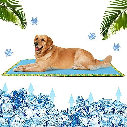 Rvlaugoaa Alfombra Refrescante para Perro Gatos,Espuma ViscoeláStica De Gel, Almohadilla De Enfriamiento AutomáTico para Mascotas, CojíN De Enfriamiento De Seda De Hielo De Verano Transpirable