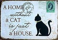 (T-Brezza) 選べる ブリキ 看板 メタル プレート アメリカン 雑貨 アンティーク ヴィンテージ レトロ (猫 cat)