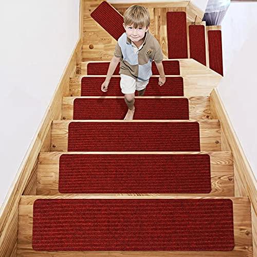 TOPLDSM Alfombra para peldaños de Escalera Antideslizante con Respaldo de Goma Antideslizante especializada para escalones de Madera en Interiores, alfombras Lavables para escalones,Rojo,15 Pcs