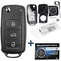 Mando a distancia por radio para el mando a distancia de la llave del coche 1x carcasa 3 botones + 1x espacio en blanco + 1x pila CR2032 para VW SEAT SKODA a partir del 11/2009