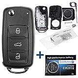 OE Qualität Auto Schlüssel GEHÄUSE + Batterie kompatibel mit VW SEAT Skoda