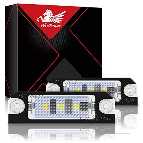 WinPower LED-Kennzeichenleuchte 3 SMD-Kennzeichenleuchte LED 6000K Xenonweiß mit Canbus Fehlerfrei Kompatibel mit Golf4 Golf5 Lupo Polo 9N, 2 Stück