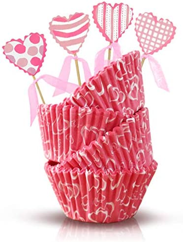 Heart Cupcakes Wrappers and Toppers Valentine s Day Baking Cups Liners Cake Decorations Wedding product image