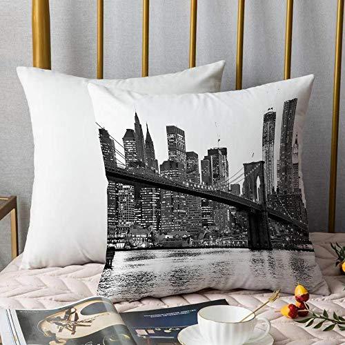 Bedding Fundas de Almohada ,Moderno, el puente de Brooklyn Puesta de sol con Manhattan American New York Ciudad famosa imaAlmohada cómodo Sofá rectángulo Funda de Cojín Decoración para El Hogar45x45cm