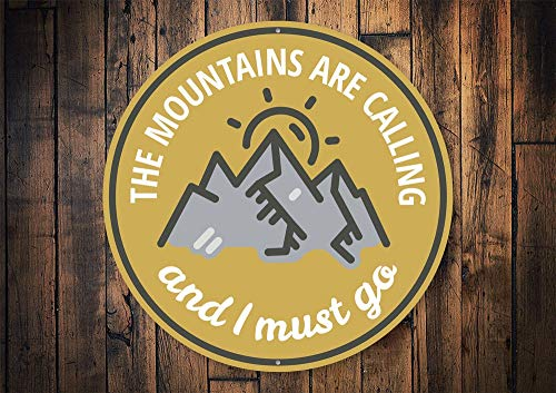18x25 Mountains Are Calling Sign Mountain Lovers Sign Mountain Decor Mountain Climbers Mountain Lodge Wild Lover Man Cave Sign Metal Sign Tin Signs Metal Sign Funny Wall Decoration Gifts for Christmas