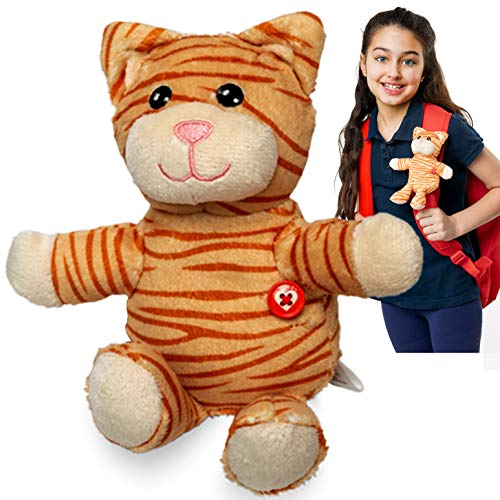 GoPals Stuffed Animal Plush Toy - Clip on to Backpack, car seat Belt, Bike and Scooters. Best Gifts for Kids. (Piper The Cat)