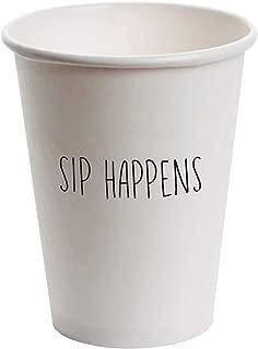 SB Design Studio D2266 Drinkware 12-Ounce White Paper Cups, Sip Happens