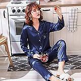 Mujer Satin Pijama Set - Conjunto De Pijama con Botones De 2 Piezas Cardigan Primavera Otoño Manga Larga Ropa De Dormir Lisa - Casual Tops De Seda Sintética Pantalones Ropa De Dormir Ropa