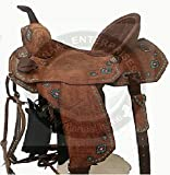 Manaal Enterprises Premium Leather Western Barrel Racing Adult Horse Saddle Size 14' to 18' inches Seat (15' Inches Seat)