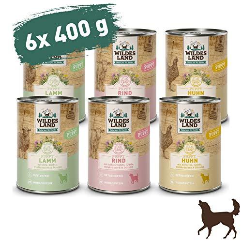 Wildes Land | Nassfutter für Hunde | Mix Puppy | 6 x 400 g | Glutenfrei | Extra viel Fleisch | Beste Akzeptanz und Verträglichkeit