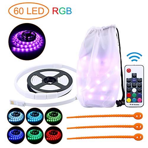 OurLeeme Outdoor-Lichtleiste, LED-Lichtleiste Seil Laterne 150CM tragbare wasserdichte Sicherheitsleuchte für Camping Zelt Wandern (RGB 60 LED)