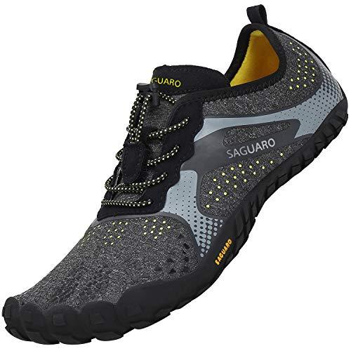 SAGUARO Hombre Antideslizante Zapatos Descalzos Mujer Transpirable Zapatilla Minimalista de Barefoot Trail Running Cómodas Flexibles Calzado de Deporte Acuático Gimnasio Playa, Agua Negro 41